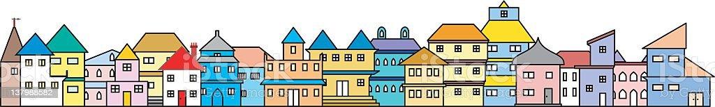 Set of Twenty Moveable Houses vector art illustration