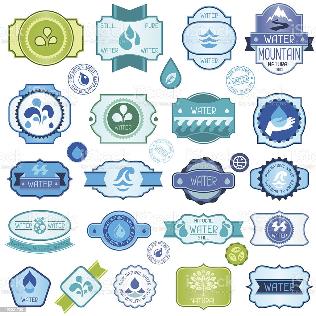 Set of twenty nine water labels, badges and stickers royalty-free stock vector art