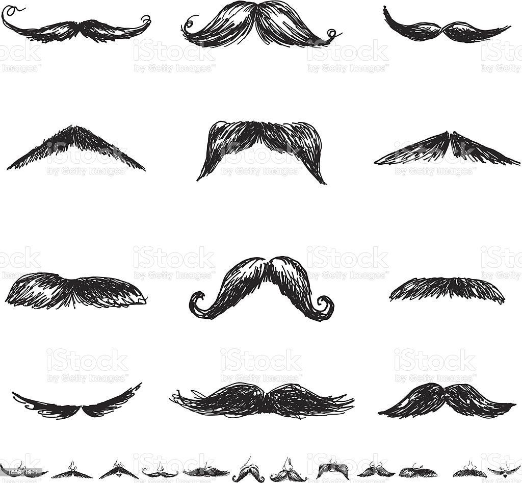 Set of Twenty-Four Men'sMoustacheIllustration Icons in Flat Colors vector art illustration