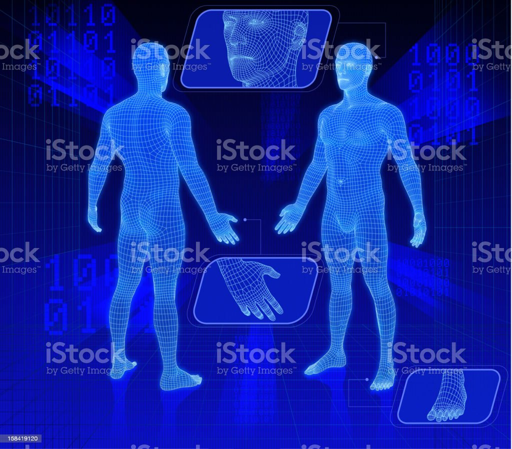 Set of two 3d people. royalty-free stock photo