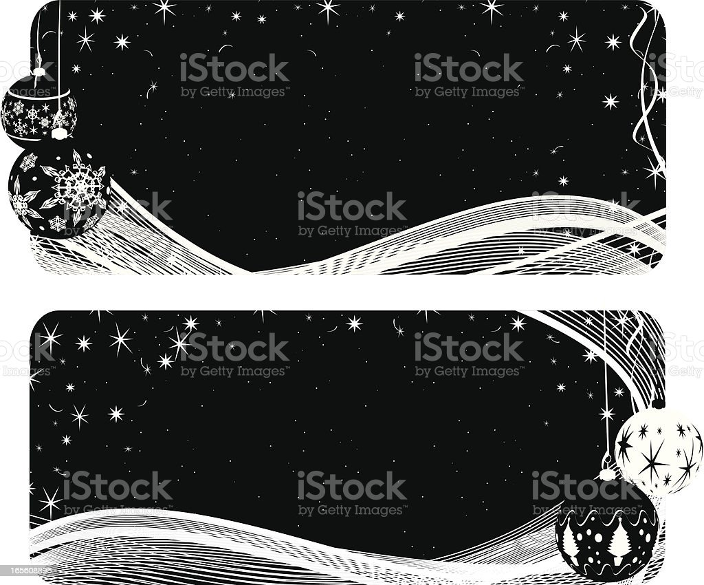 Set of Two Black and White Banners - Christmas royalty-free stock vector art
