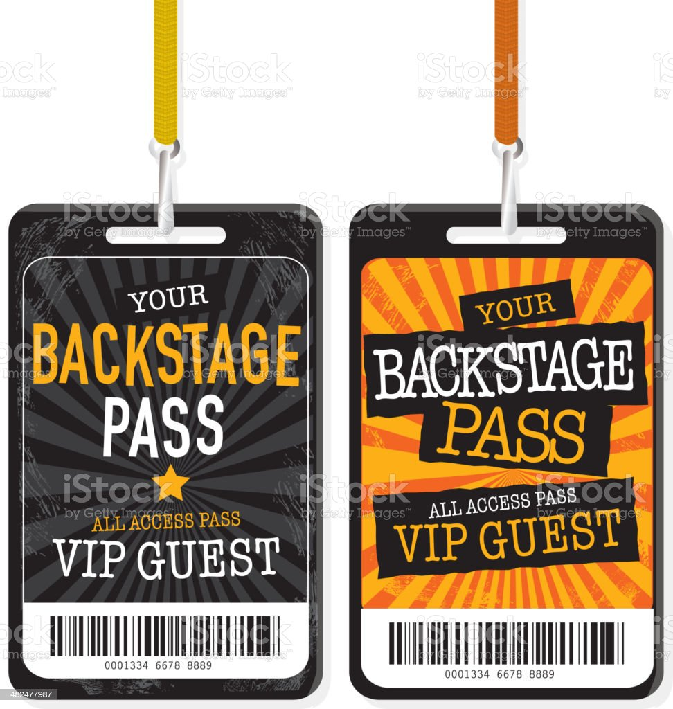 Set of two Black and yellow Backstage Pass template designs vector art illustration