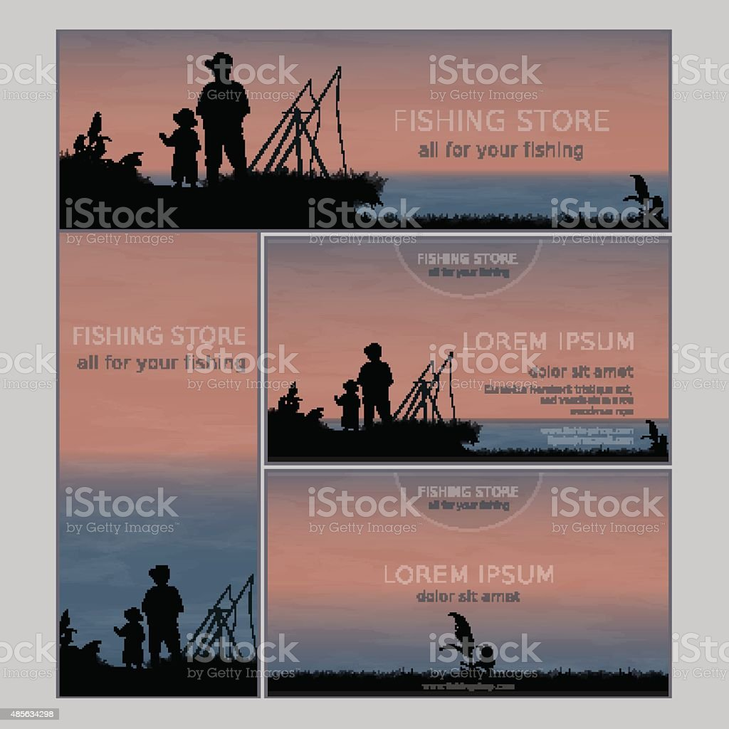 Set of two business card and two banners for fishing store vector art illustration