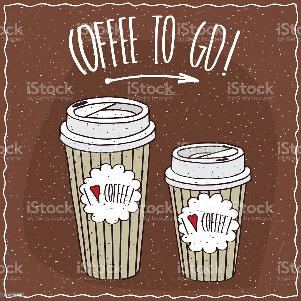 Set of two different sizes paper cups of coffee vector art illustration
