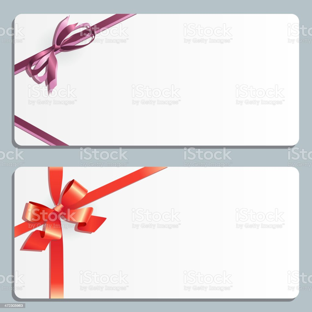 Set of two greeting cards with bow. royalty-free stock vector art