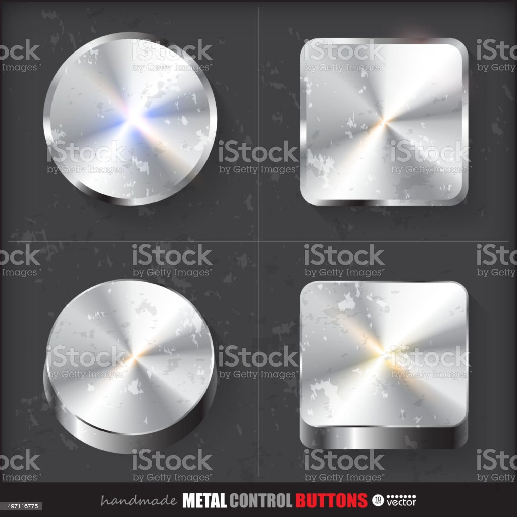 Set of two positions of Circle and Cube Metal Button. royalty-free stock vector art