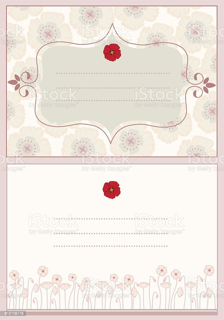 Set of two Remembrance day cards vector art illustration