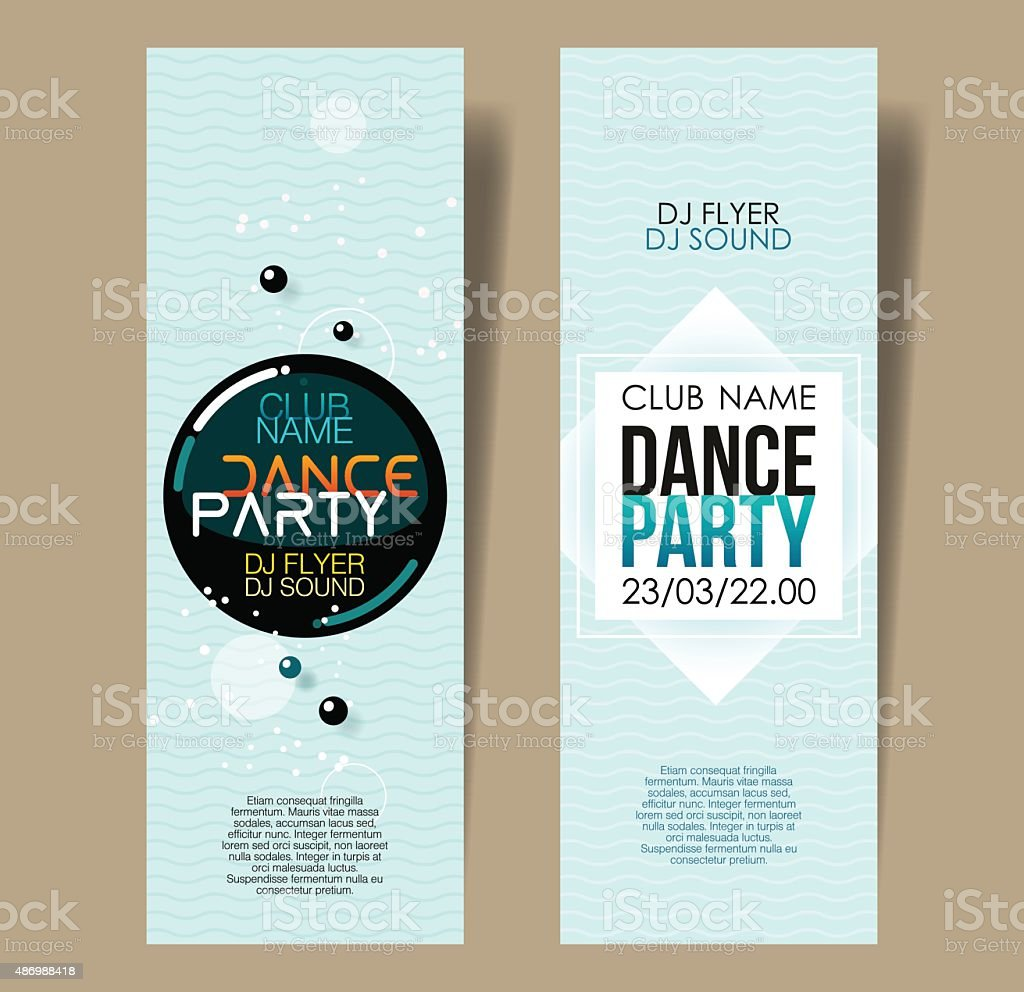 Set of two vertical light blue music party flyers. vector art illustration