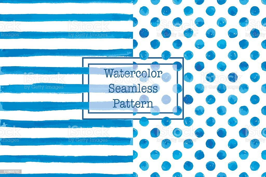 Set of two watercolor seamless patterns, blue color. vector art illustration