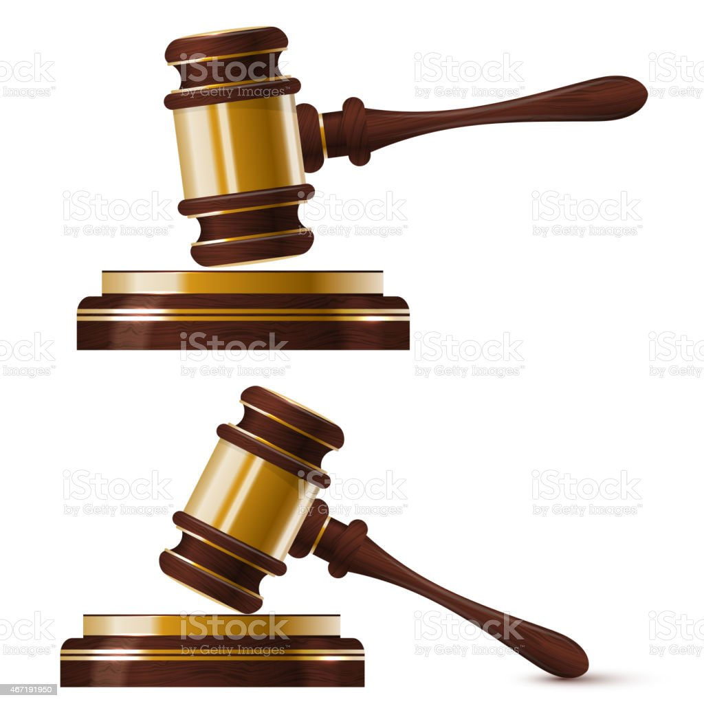 Set of two wooden gold hammer the judge. Isolated. vector art illustration