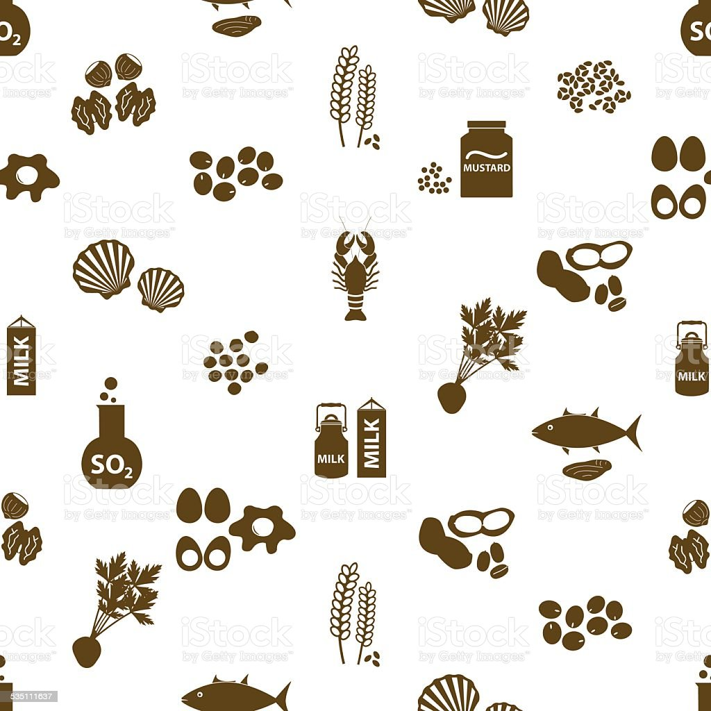 set of typical food alergens for restaurants seamless pattern eps10 vector art illustration