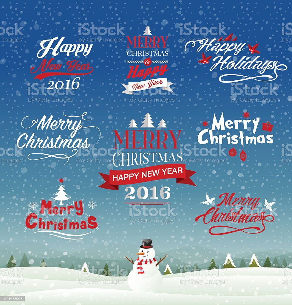 Set of typo , merry Christmas & happy new year 2016 vector art illustration