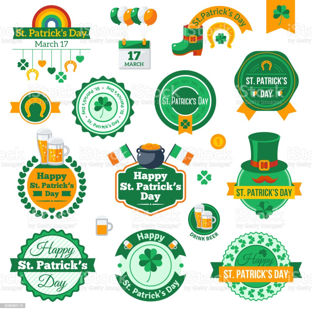 Set of Typographic Saint Patrick's Day Labels Design. vector art illustration