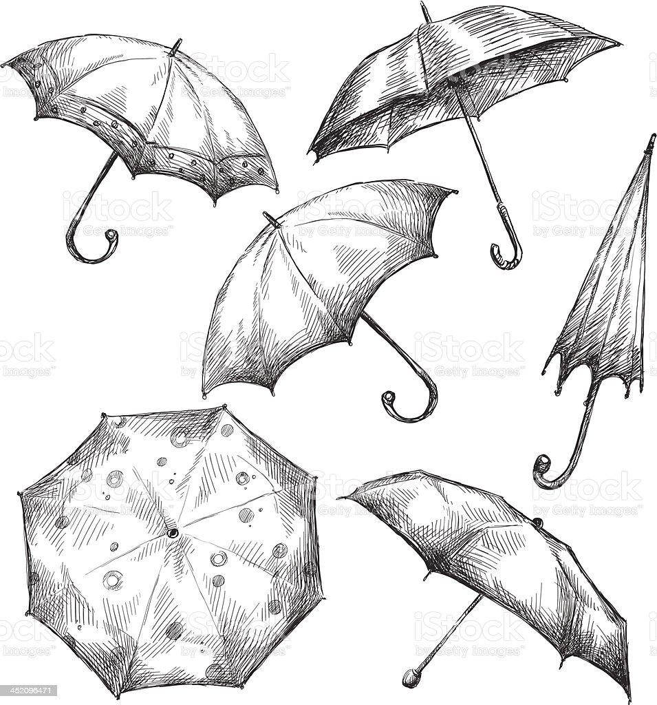 Set of umbrella drawings, hand-drawn royalty-free stock vector art