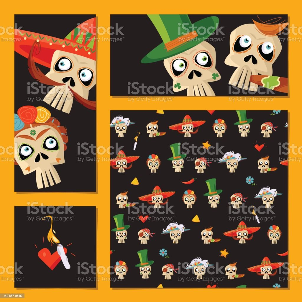 Set of universal cards and bookmarks with variety of Mexican style skulls. Dia de Muertos. Cinco de Mayo. vector art illustration