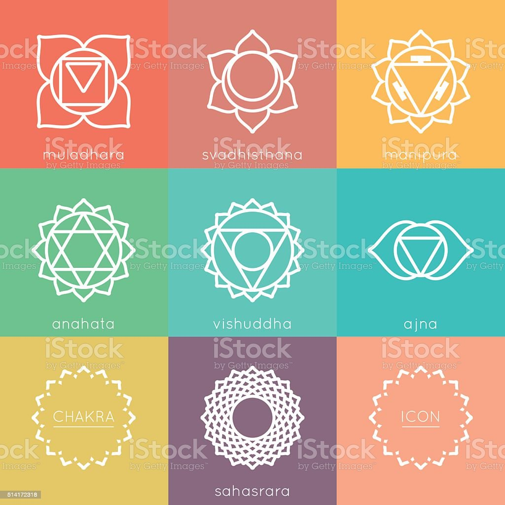 Set of universal colorful chakras icons vector art illustration
