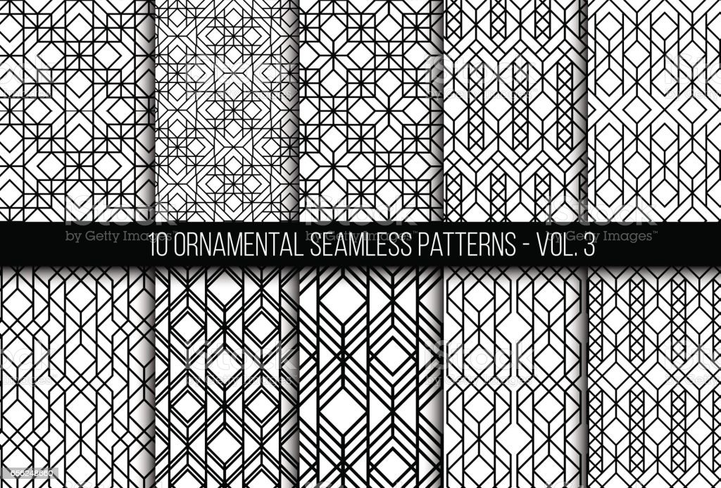 Set of universal different geometric seamless patterns vector art illustration