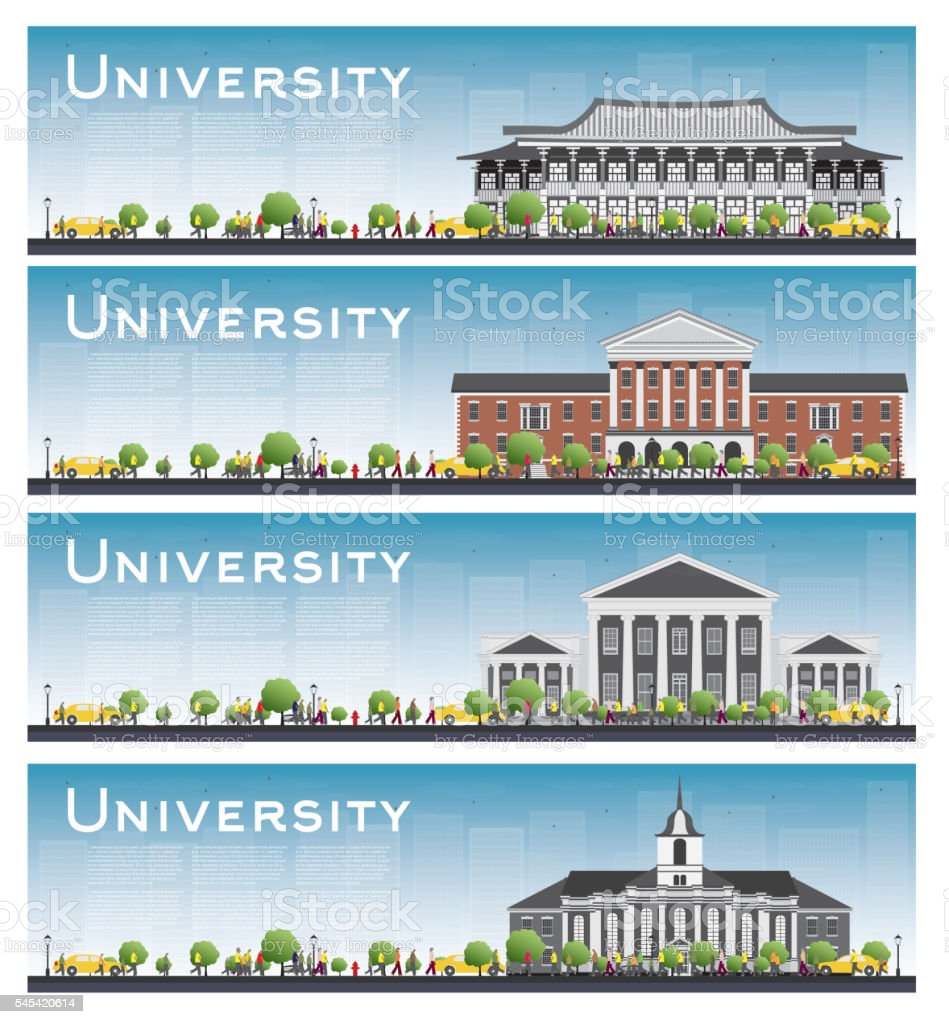 Set of university study banners. vector art illustration