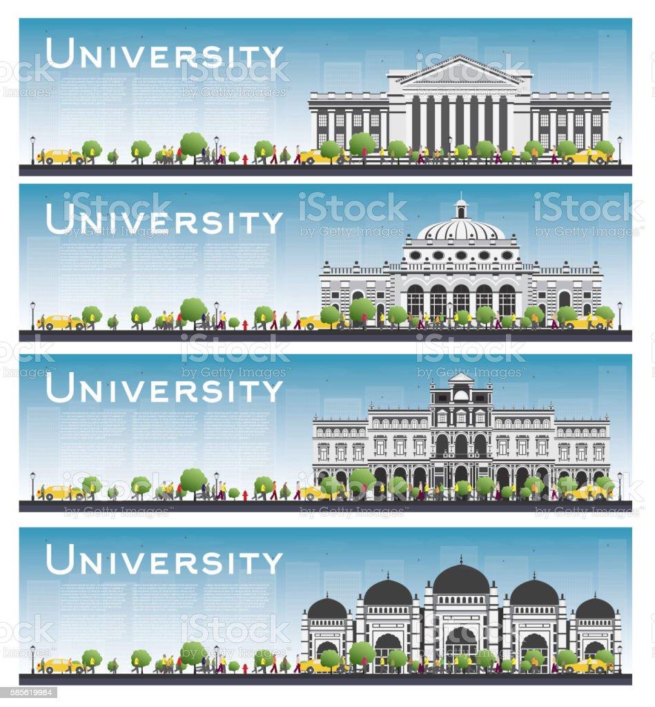 Set of university study banners. vector art illustration