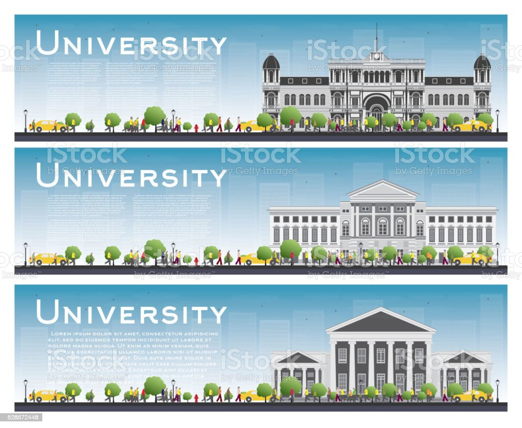 Set of university study banners. Vector illustration. vector art illustration