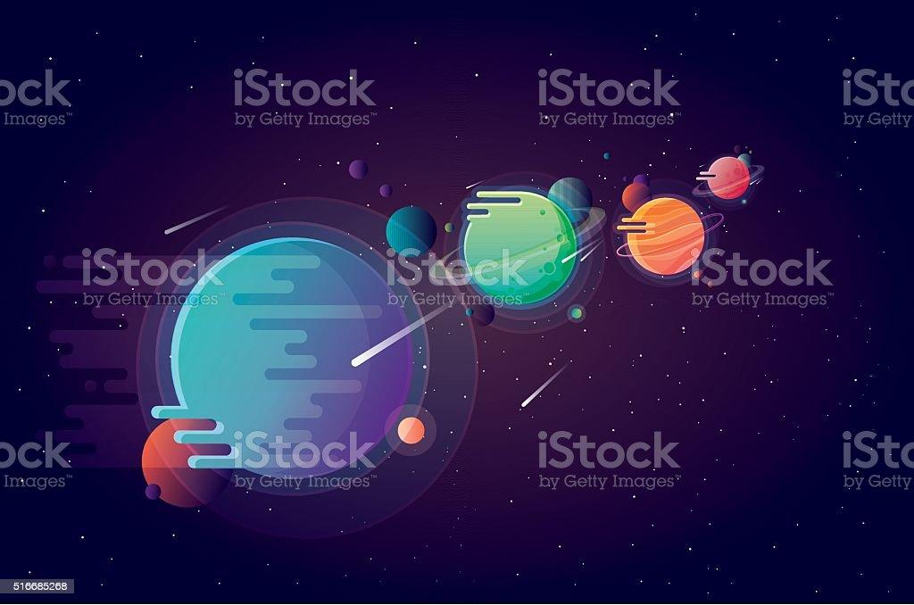 Set of unusual colorful vivid planets vector art illustration