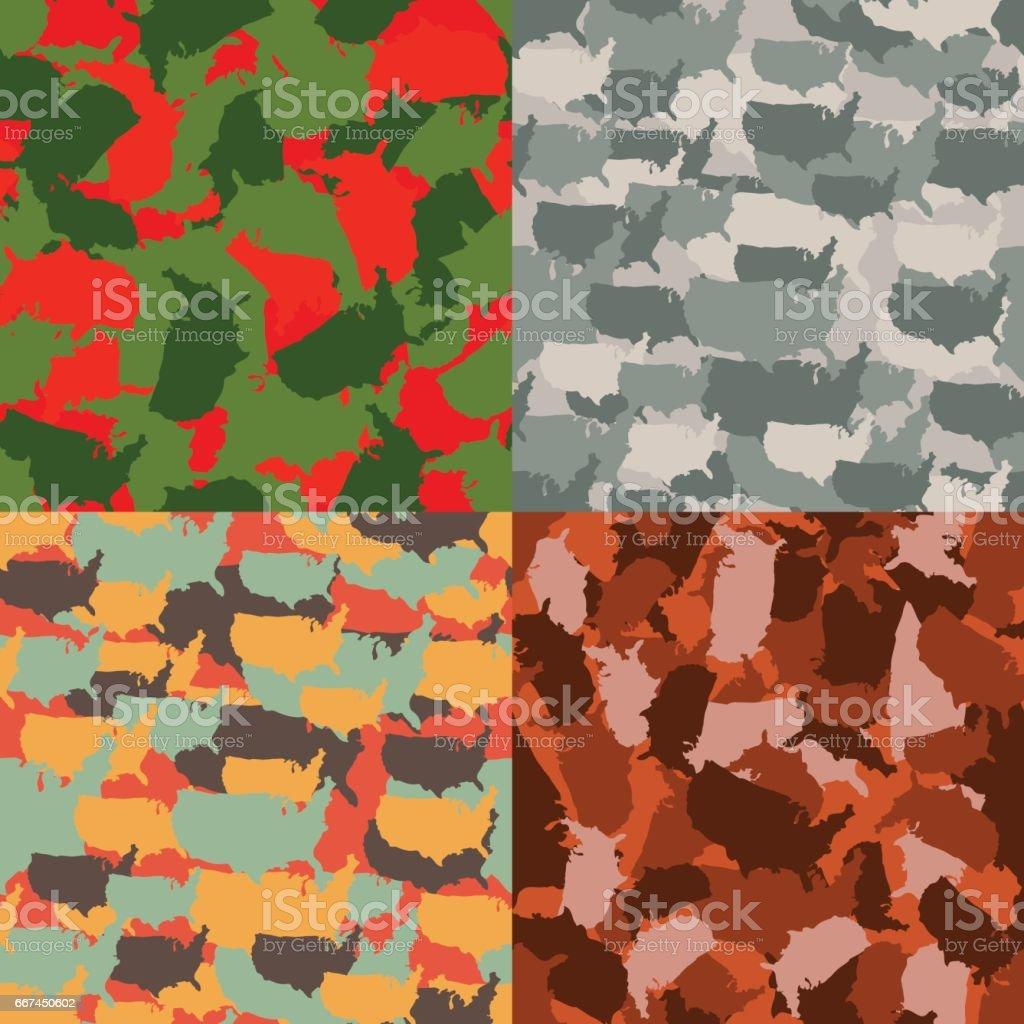 Set of USA shape camo seamless pattern. Colorful America urban camouflage. Vector fabric textile print design vector art illustration