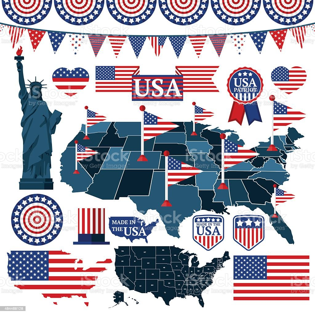 Set of USA symbols, flags, and maps with states. Vector vector art illustration