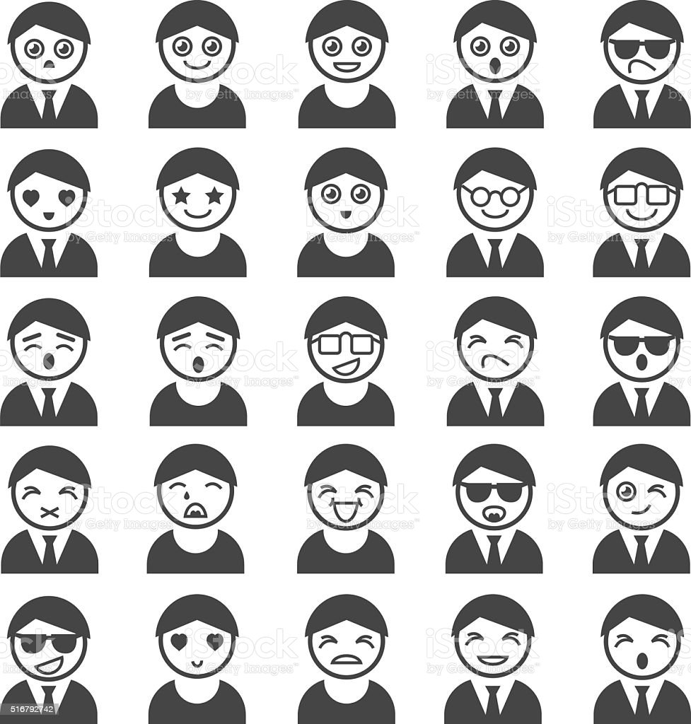 Set of user icons vector art illustration