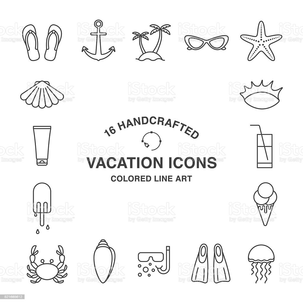 Set of vacation icons. vector art illustration