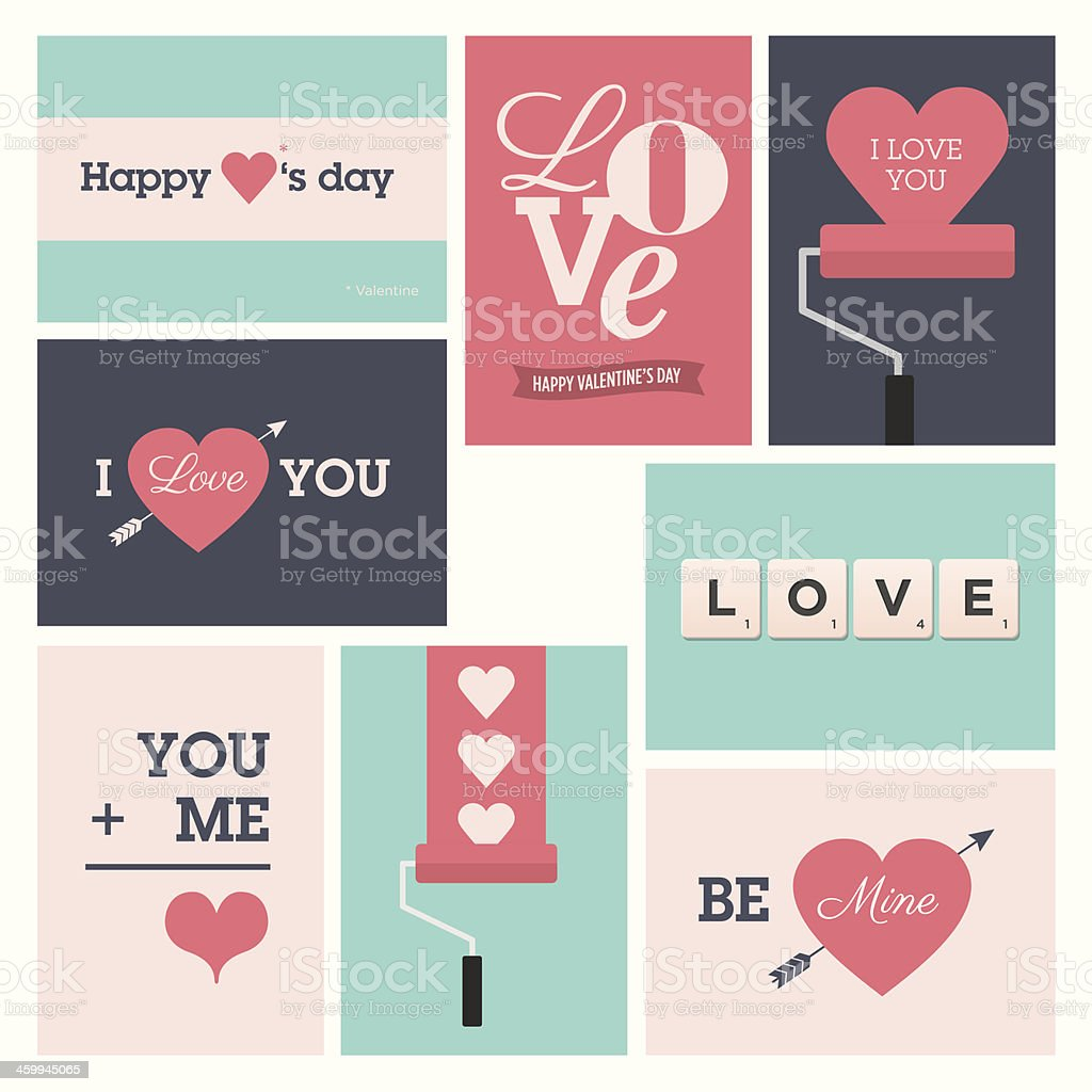 Set of valentine cards royalty-free stock vector art