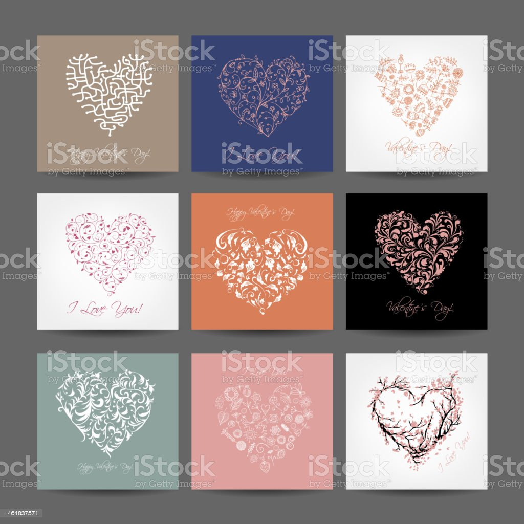 Set of valentine cards with hearts for your design vector art illustration