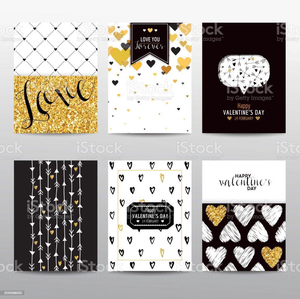 Set of Valentine's Day Brochures and Cards - vintage layouts vector art illustration