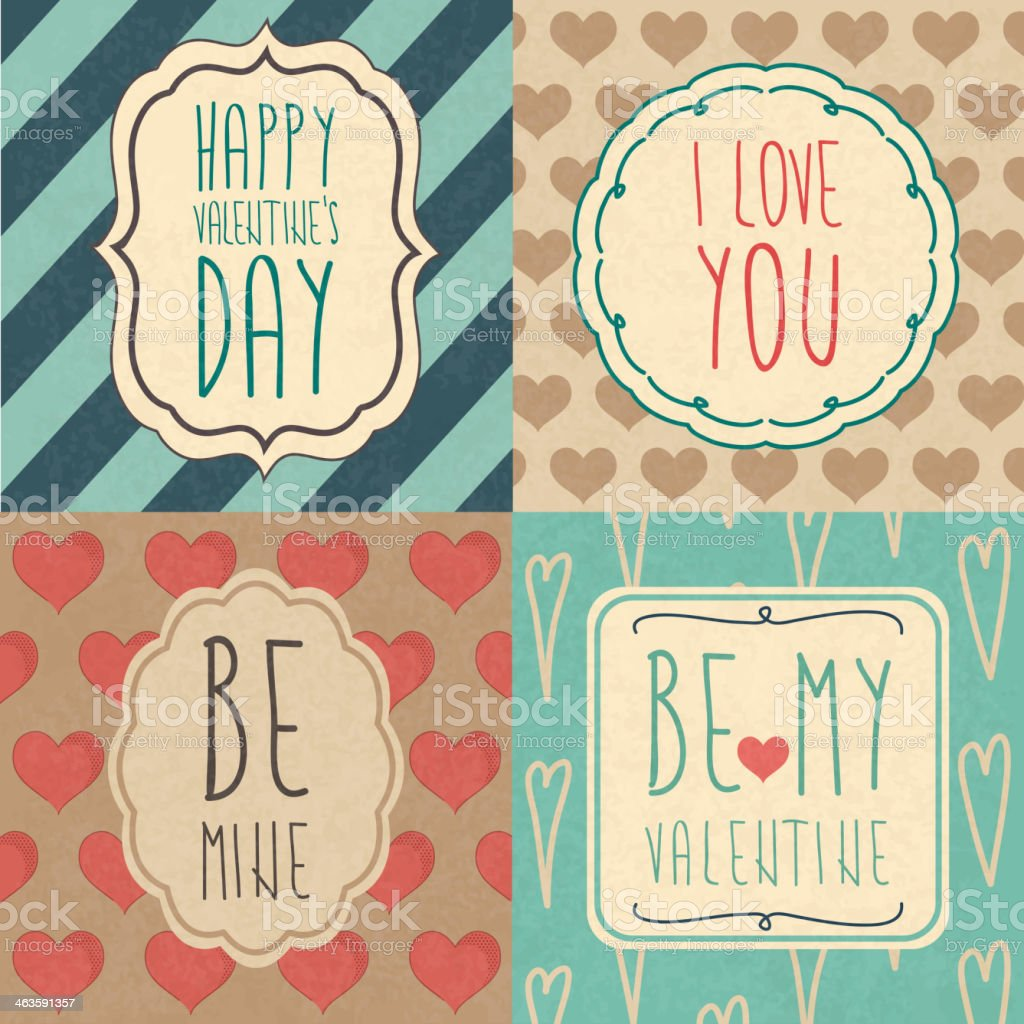 A set of Valentine's Day cards vector art illustration