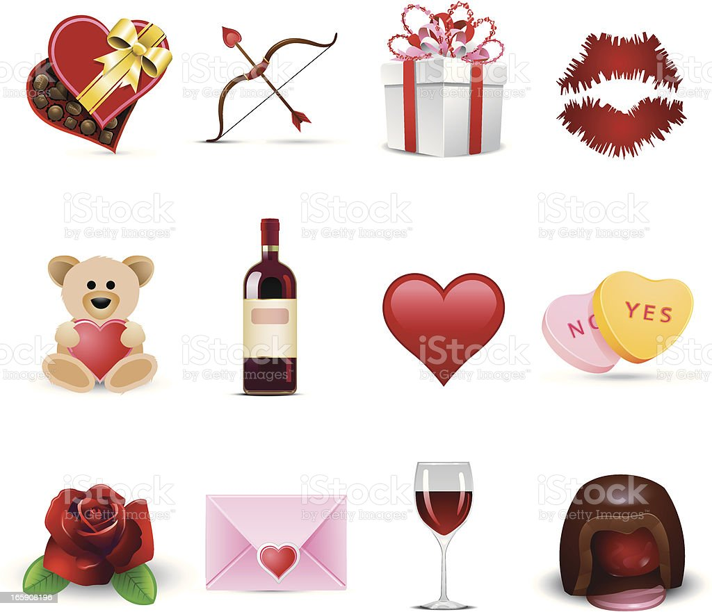 Set of Valentine's Day celebration icons vector art illustration