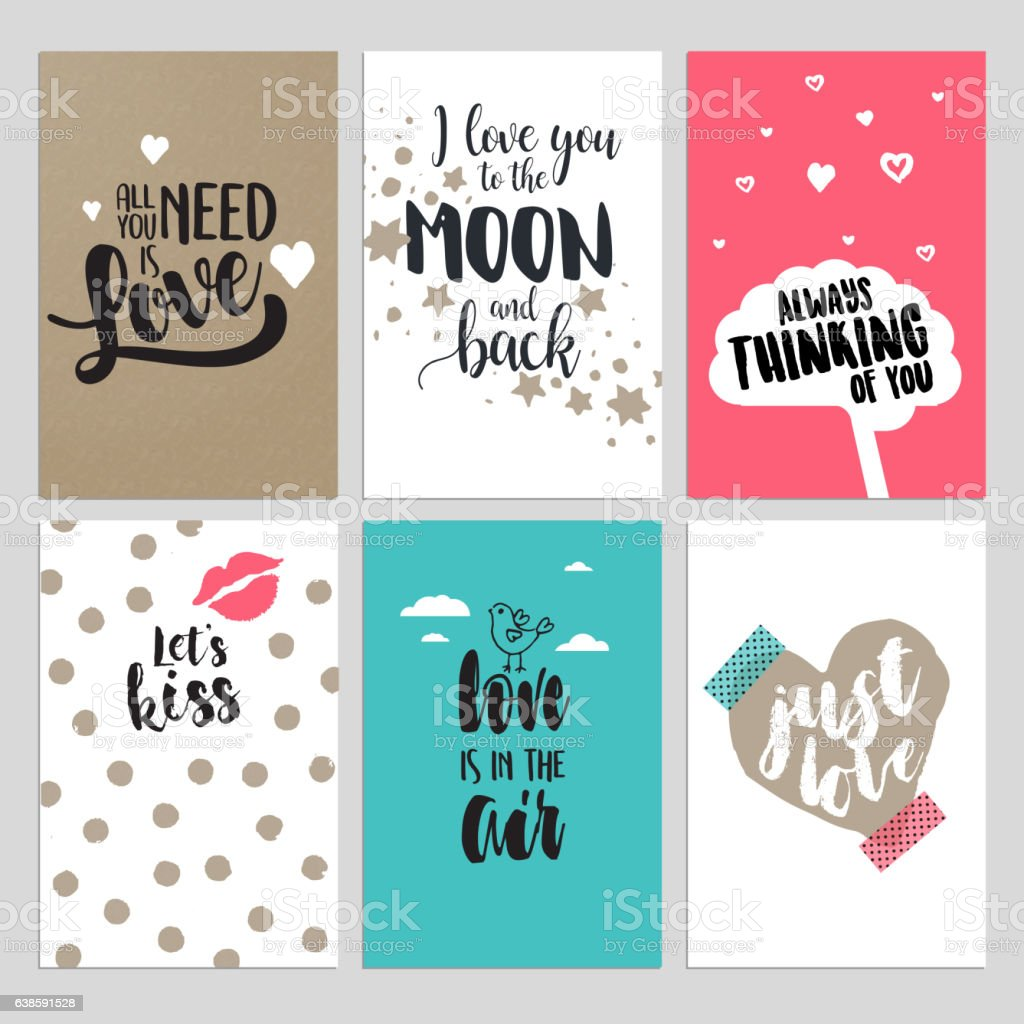 Set of Valentine's day greeting cards vector art illustration