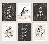Set of Valentine's Day hand drawn greeting card
