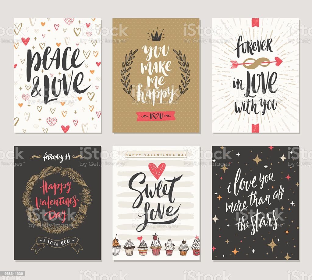 Set of Valentine's Day hand drawn posters or greeting card vector art illustration
