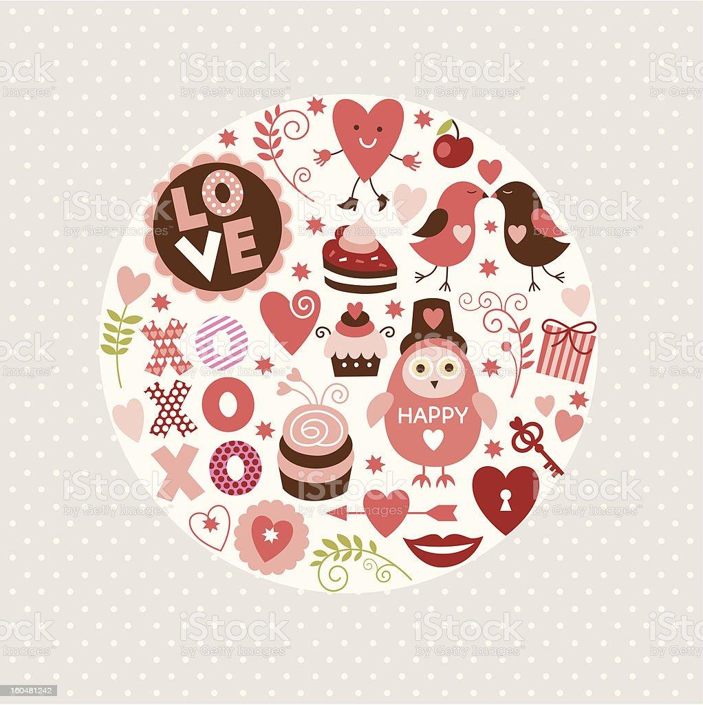 Set of Valentine's design elements royalty-free stock vector art