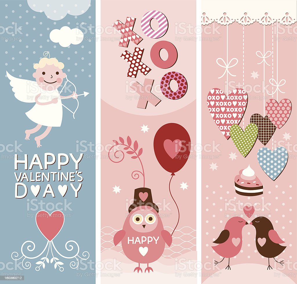 Set of Valentine's vertical  banners royalty-free stock vector art