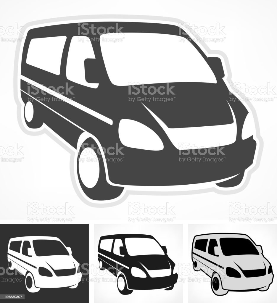 Set of vans vector art illustration
