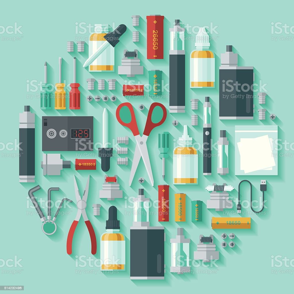Set of Vaping Icons with Long Shadow vector art illustration