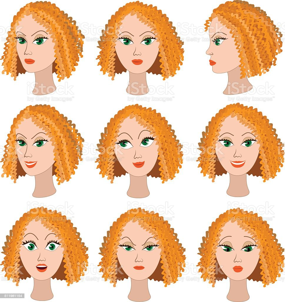 Set of variation of emotions of the same girl with red hair. She is...