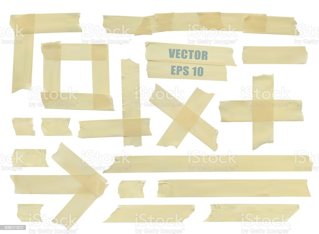 Set of various adhesive tape pieces. Realistic illustration vector. vector art illustration