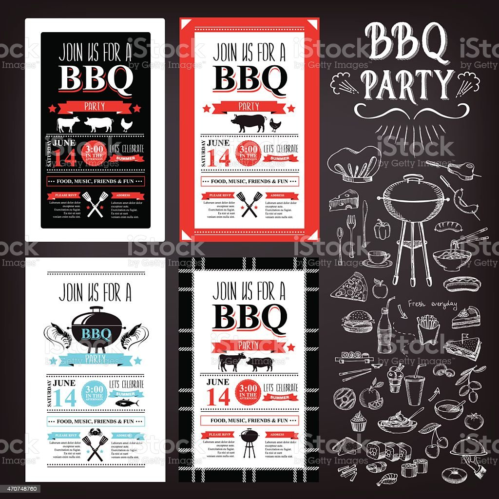 Set of various barbecue party invitation design vector art illustration