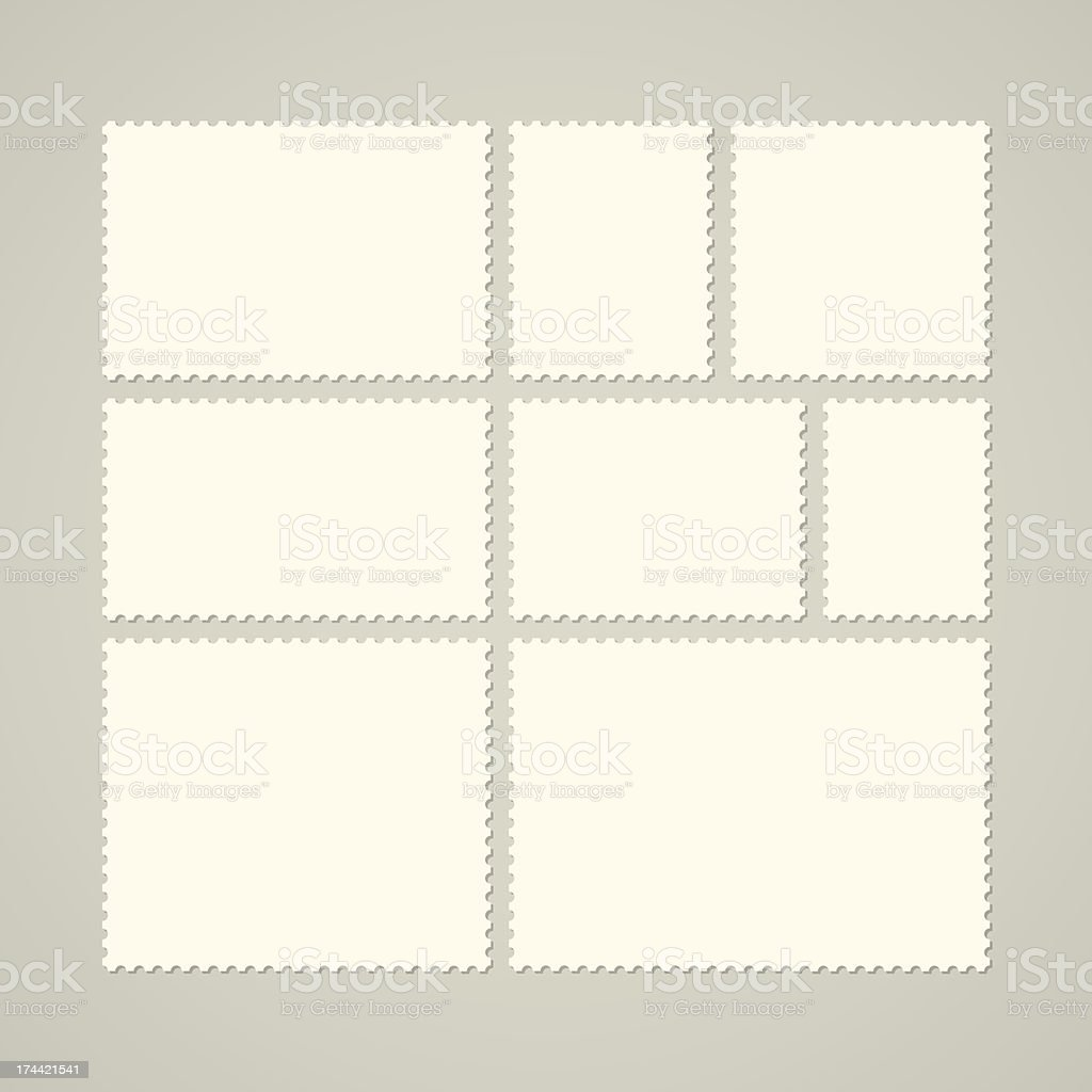 Set of various blank postage stamps isolated on gray vector art illustration
