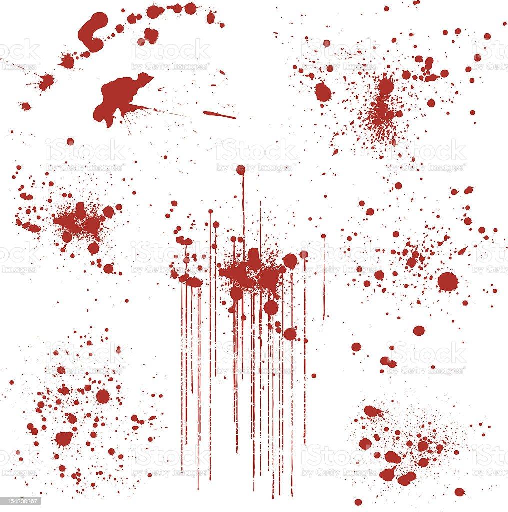 Set of Various Blood Splatters royalty-free stock vector art