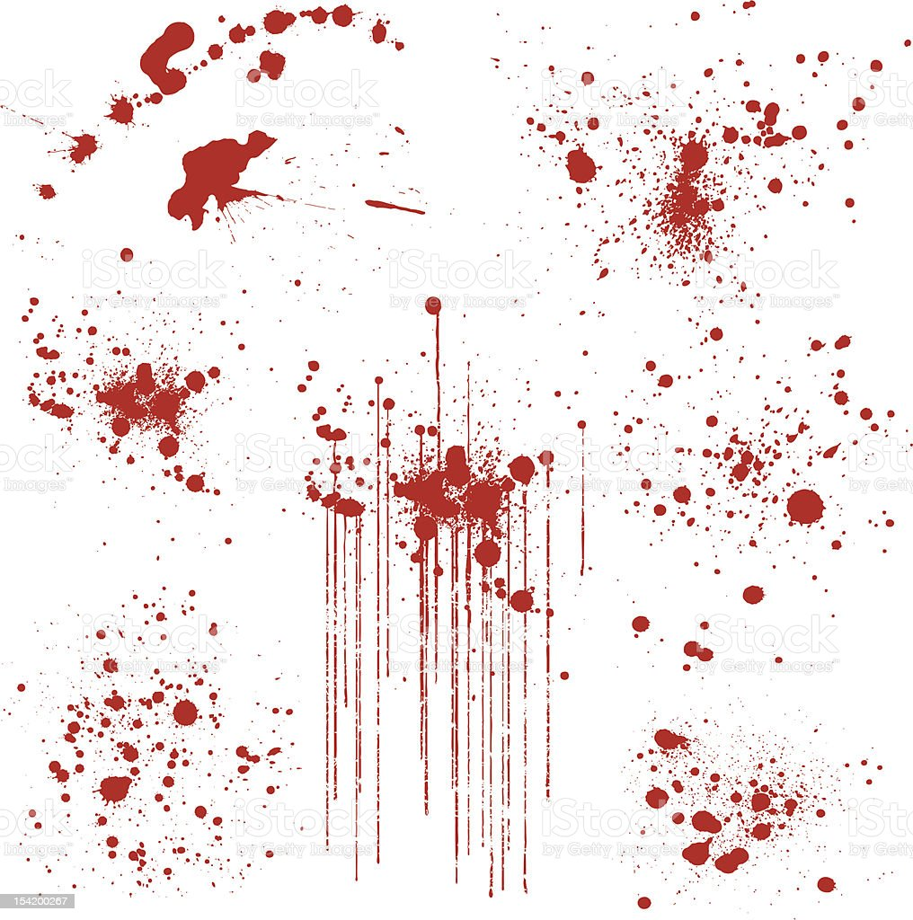 Set of Various Blood Splatters vector art illustration