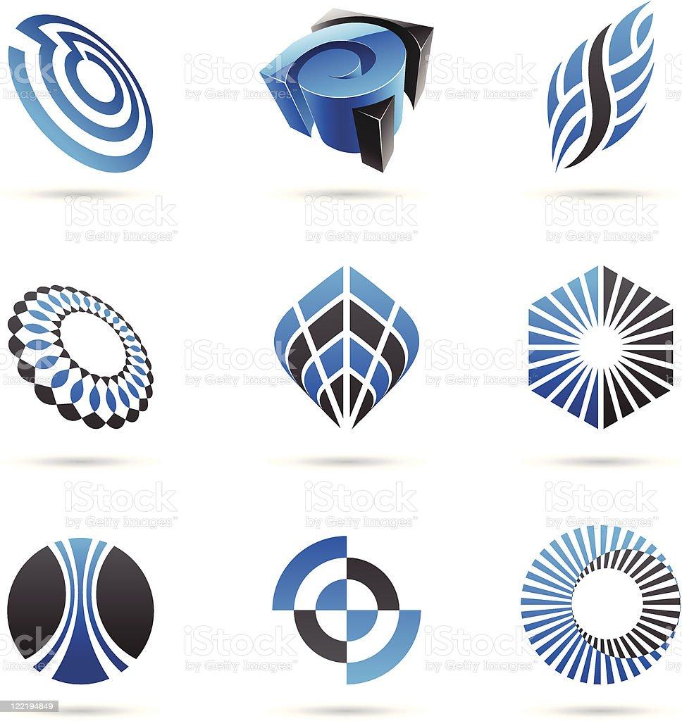 Différentes icônes abstraits bleus stock vecteur libres de droits libre de droits