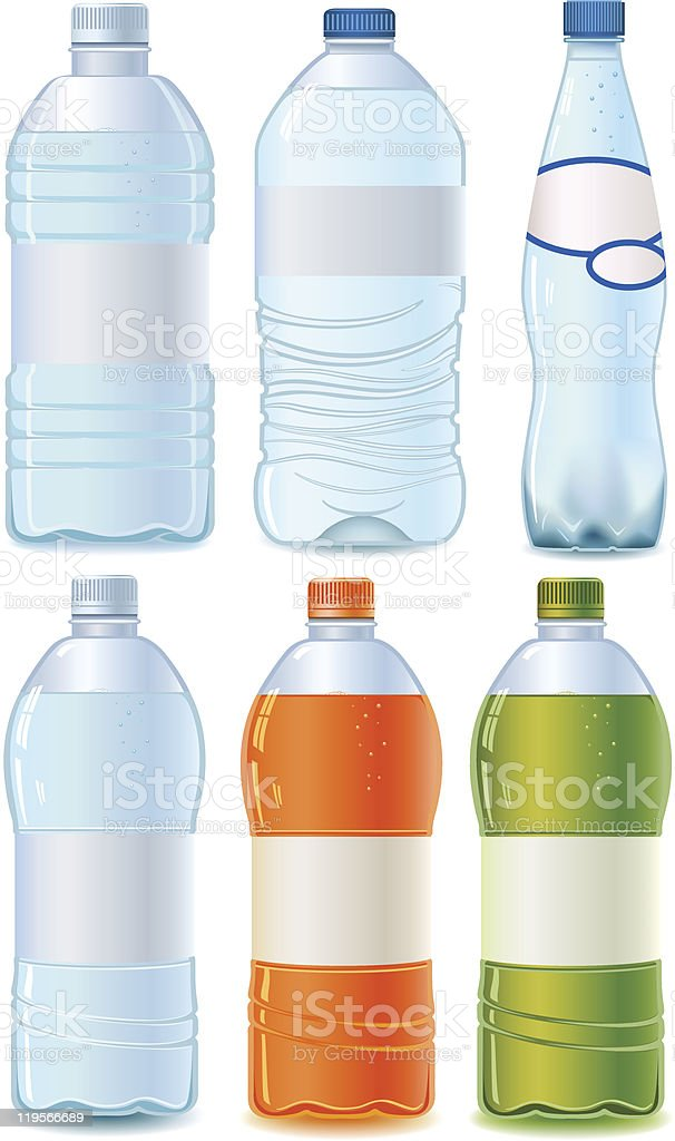 Set of various cartoon plastic bottles isolated on white vector art illustration