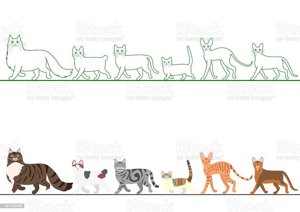 set of various cats walking in line vector art illustration